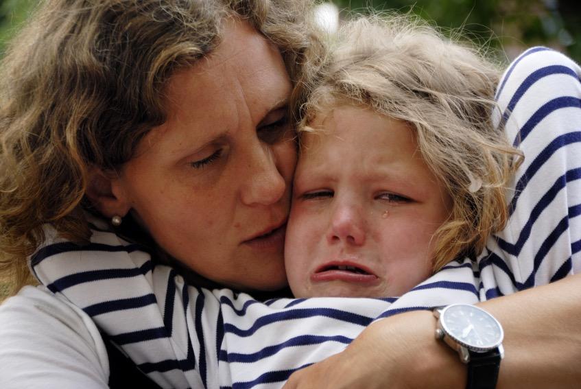 Consoling upset child